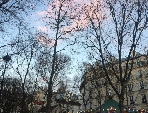 Belle Paris  #fallinginlove #paris #montmartre #abbesses #blueskies #pinkclouds …
