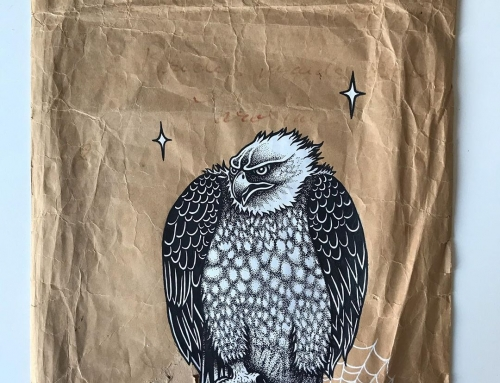 My most recent drawing in a series of mail art, posca and gesso on a undated env…